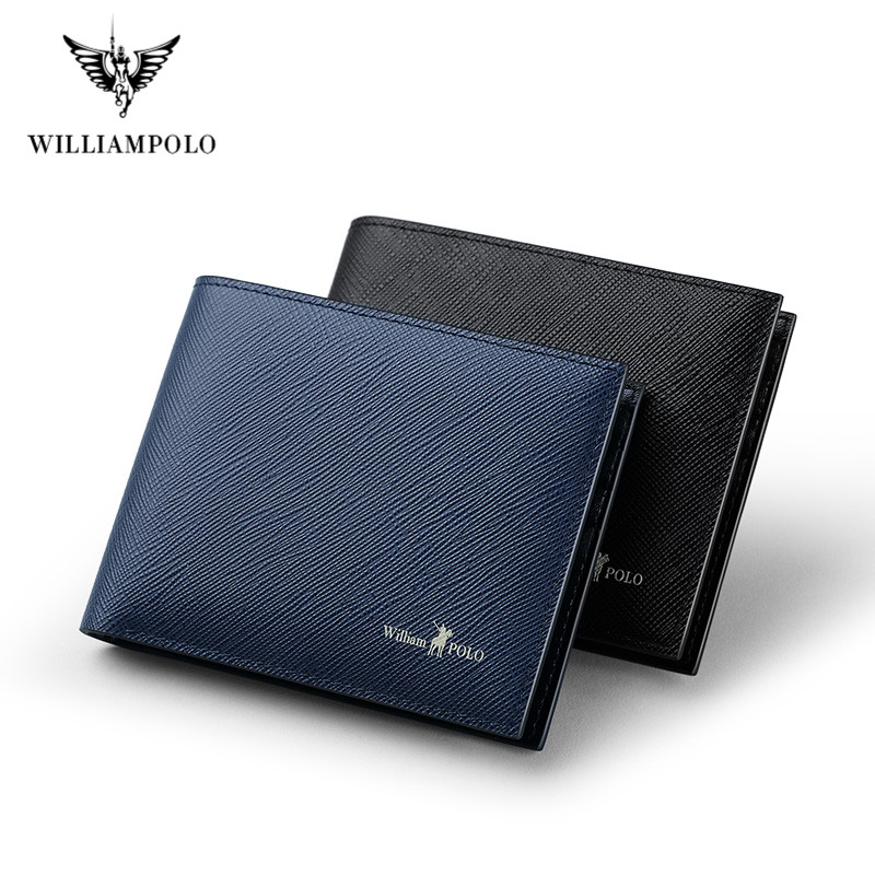 WilliamPOLO Cowhide Purse 100% Leather Men Wallet Brand Luxury Leather Wallets  Mature Man Bifold Wallet Small Portable