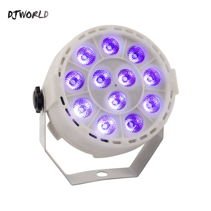 DJworld Wireless Remote Control LED Flat Par 12x3W RGBW Lighting White Body Violet Color For DJ Disco Music Concert Ballroom Bar