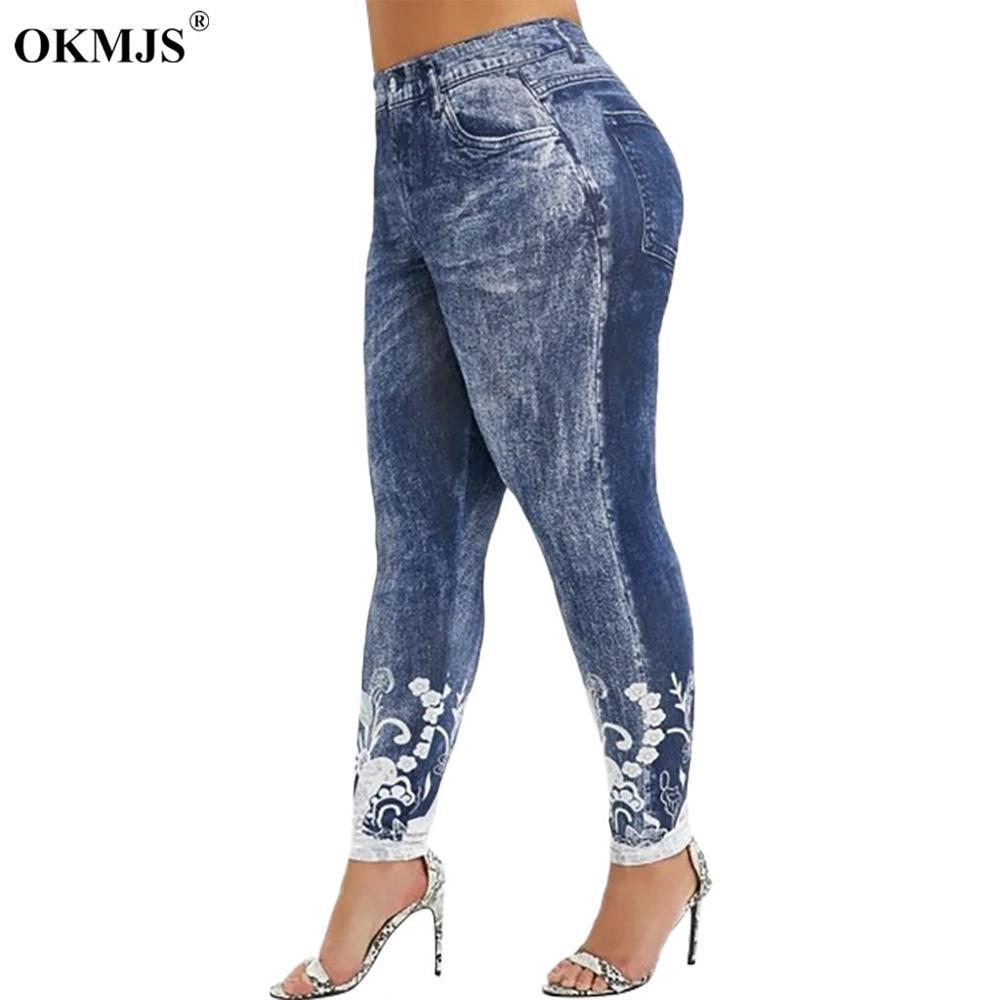 Leggings Women Plus Size High Waist 3D Print Pants Ladies Skinny Pencil Pants Imitation Denim Sexy Elastic Leggings 5XL Trousers