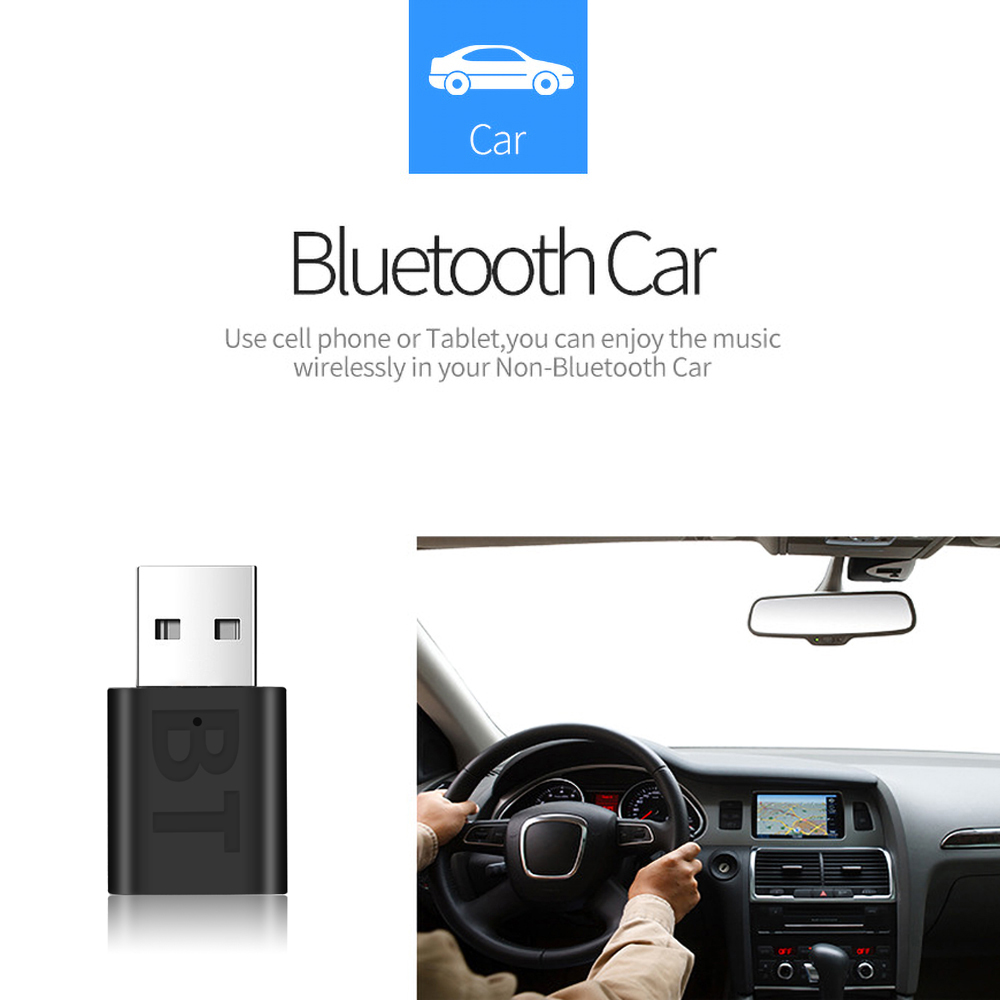 3.5mm AUX Bluetooth 5.0 Car Kit Wireless Music Stereo USB Power Audio Receiver Adapter Auto Bluetooth AUX for Car Radio MP3 PC 2