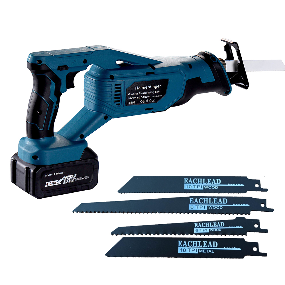 home improvement : Lithium battery reciprocating saw 18v cordless reciprocating saw with two 4 0 Ah battery
