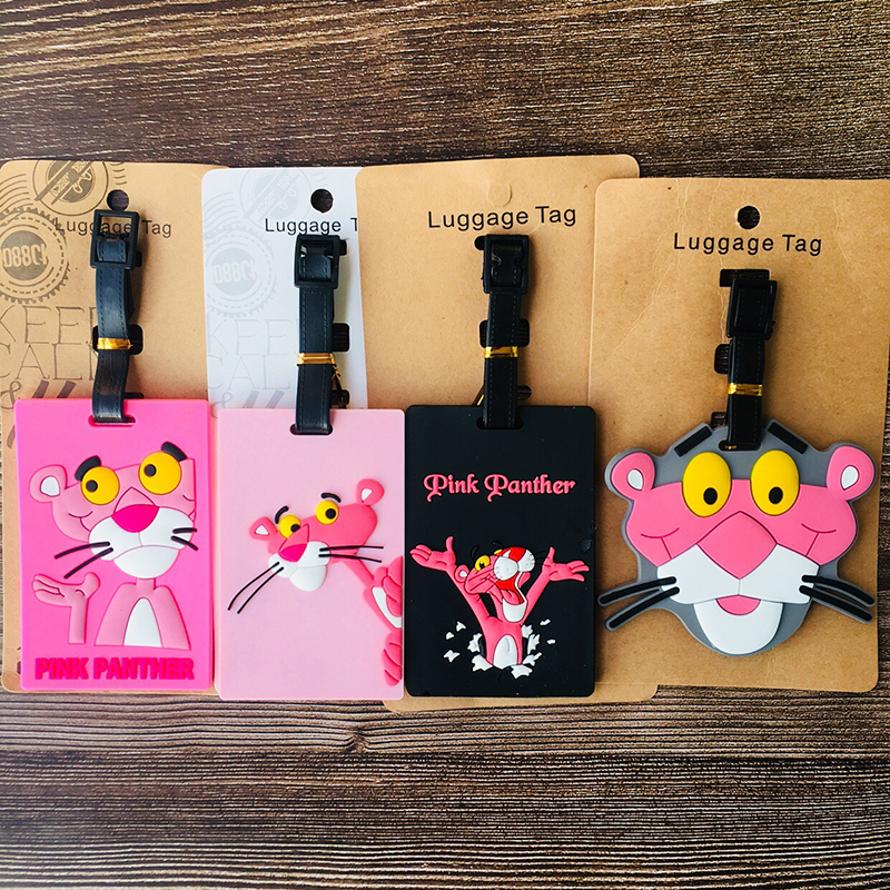 PinK Panther Anime Travel Accessories Luggage Tag Suitcase ID Portable Tags Holder Baggage Labels Gifts New