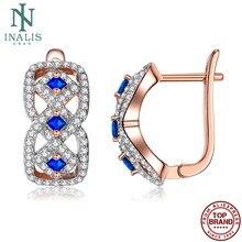 Inalis moda brincos para as mulheres azul totalmente cúbico zircônia feminino cobre parafuso prisioneiro brinco venda quente jóias 2021 festa de noivado