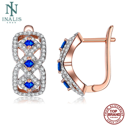 INALIS Fashion Earrings For Women Blue Fully Cubic Zirconia Female Copper Stud Earring Hot Selling Jewelry 2021 Engagement Party