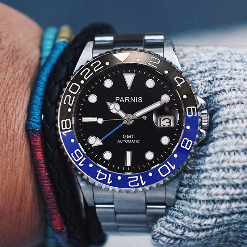 Parnis 40mm Automatic Mechanical Watch Men GMT Luxury Sapphire Crystal Ceramic Bezel Luminous Waterproof Calendar Wristwatch Men