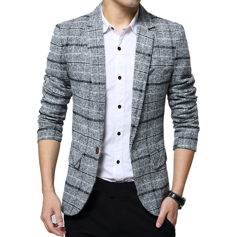 2020 Men's Plaid Suit Jacket Spring Autumn Mens Blazers Male Casual Slim FIts Coat Brand Clothing Plus Size 5XL Blazer Masculino