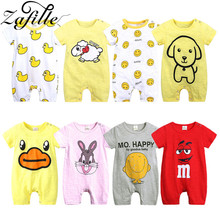 ZAFILLE Summer New Cotton Baby Romper Baby Girl Clothes Printed Newborn Infant Baby Boy Clothes Short Sleeve Baby Jumpsuit Bebes new baby boy clothing set summer baby cotton bodysuit elephant printed romper animal bibs 3pcs set newborn baby girl clothes