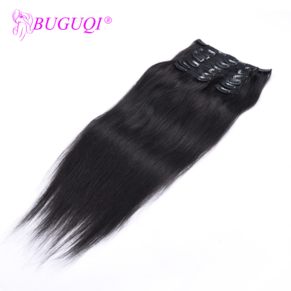 BUGUQI Hair Clip In Human Hair Extensions Peruvian Natural Black Remy 16-26 Inch 100g Machine Made Clip Human Hair Extensions