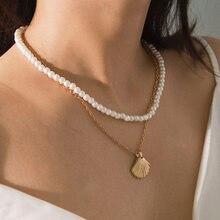 Conjunto de collar con cuentas de perlas para mujer, accesorios de joyería europea y americana con abalorios, doble conjunto