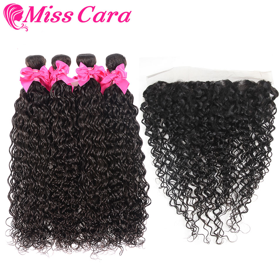 Malaysian Water Wave Bundles With Frontal Miss Cara 100 Remy Human Hair 3 4 bundles With