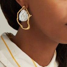 KMVEXO złoty Metal geometryczny barokowy nieregularne sztuczna Pearl kolczyki dla kobiet 2020 moda Wedding Party biżuteria Pendientes