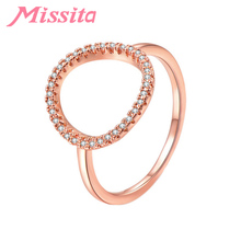 MISSITA Romantic Cubic Zirconia Rings for Women Round Type Rose Gold Wedding Finger Ring Gift Brand Fashion Jewelry Bague