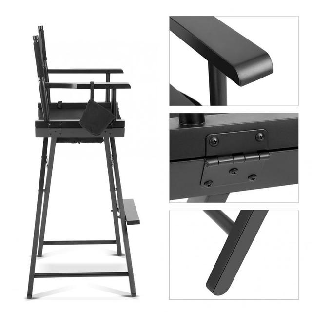 Professional Makeup Artist Directors Chair Wood Lightweight Black Foldable Chair 4