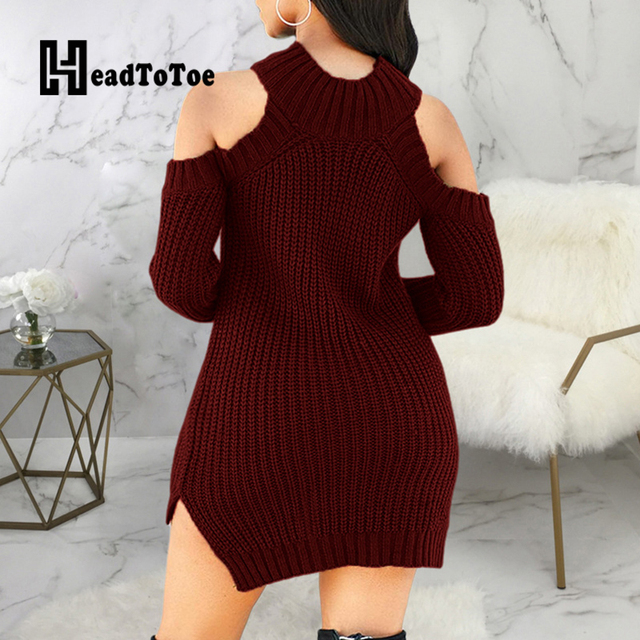 Solid Casual Fashion Woman Dress Long Sleeve Off Shoulder Round Neck Above Knee Elastic Above Knee Woman Sweater Dress 4