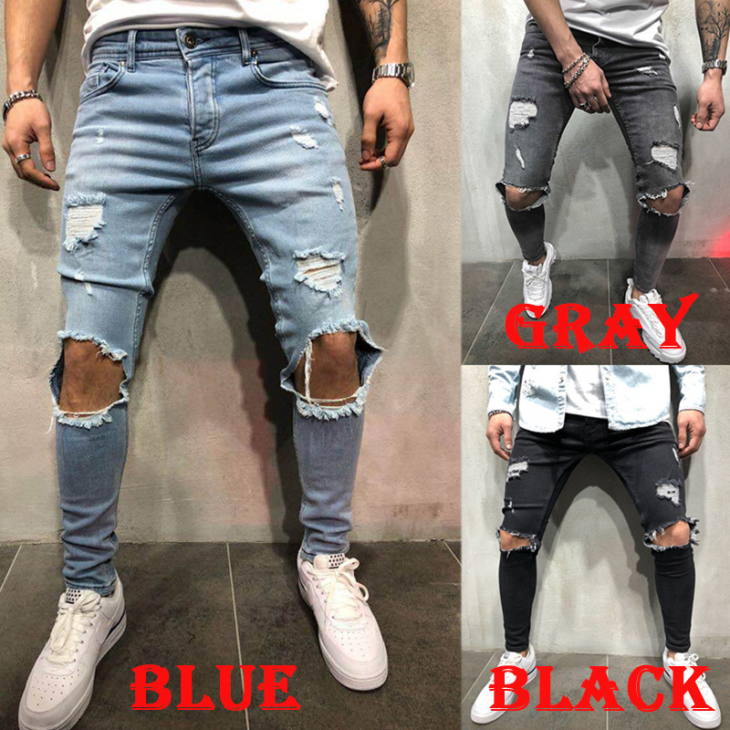 Ripped Knee Big Holes Jeans For Men Skinny Denim Pencil Pant Plus Size 3XL Blue Black Grey Distressed Jean Homme Calca Masculina