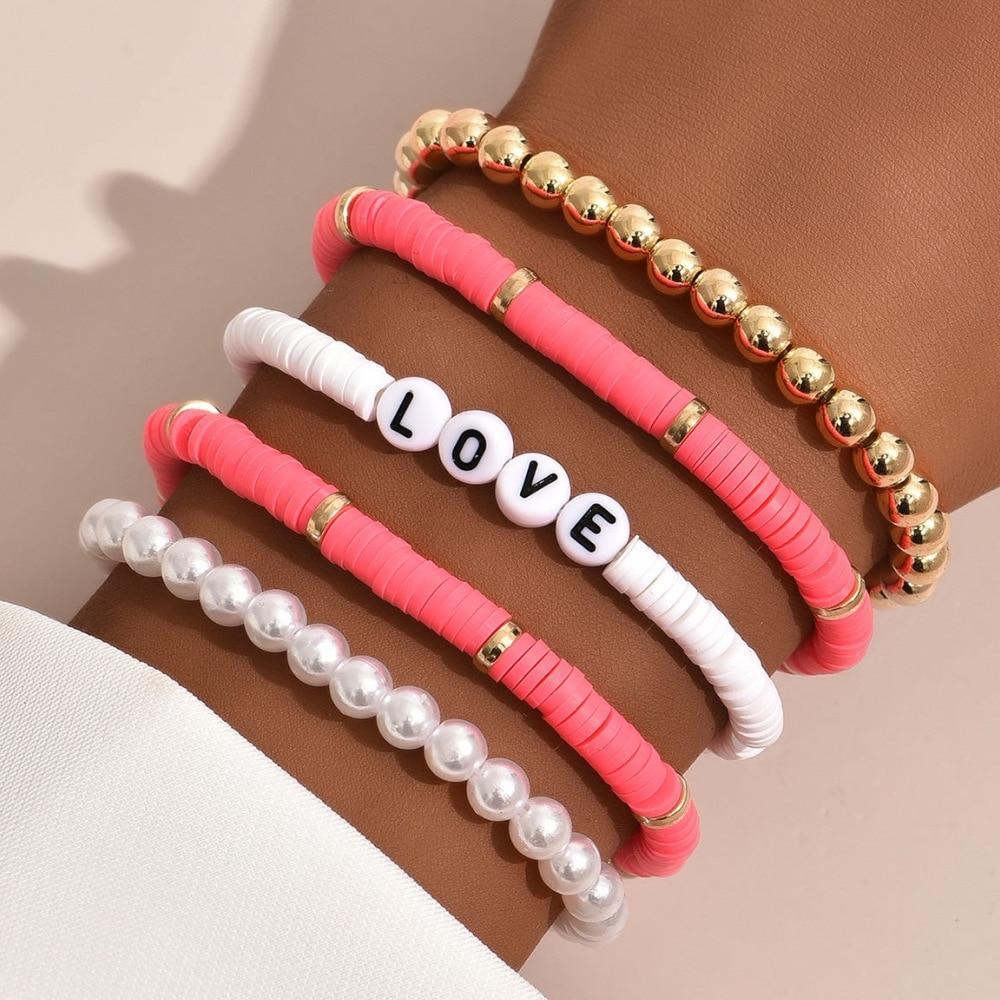 Bohemian Bracelet Set for Women LOVE Lettle Pearl Soft Pottery Colorful Holiday Beach Bracelet AM3084