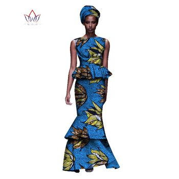 2020 New African Dresses For Women Dashiki Ladies Clothes Ankara O-Neck Africa Clothes Two Pieces Set Natural 6xl None WY1054 - 2, M