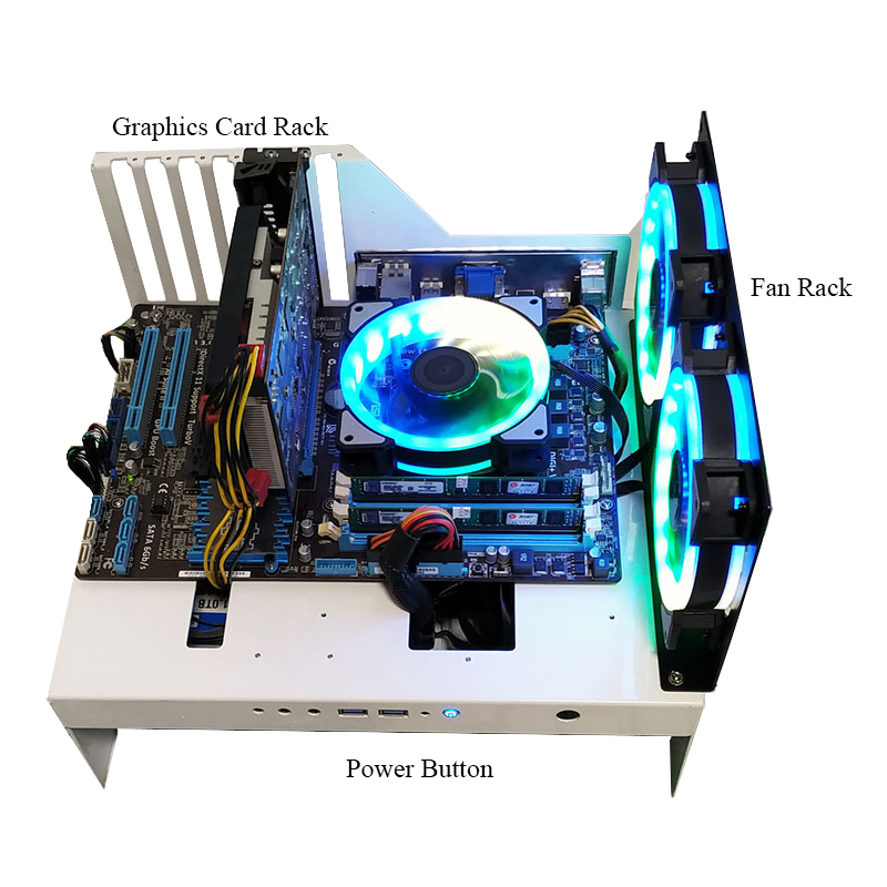 Acryl-Computergehäuse Rack Desktop-PC-Gehäuse für ATX Mainboard Motherboard