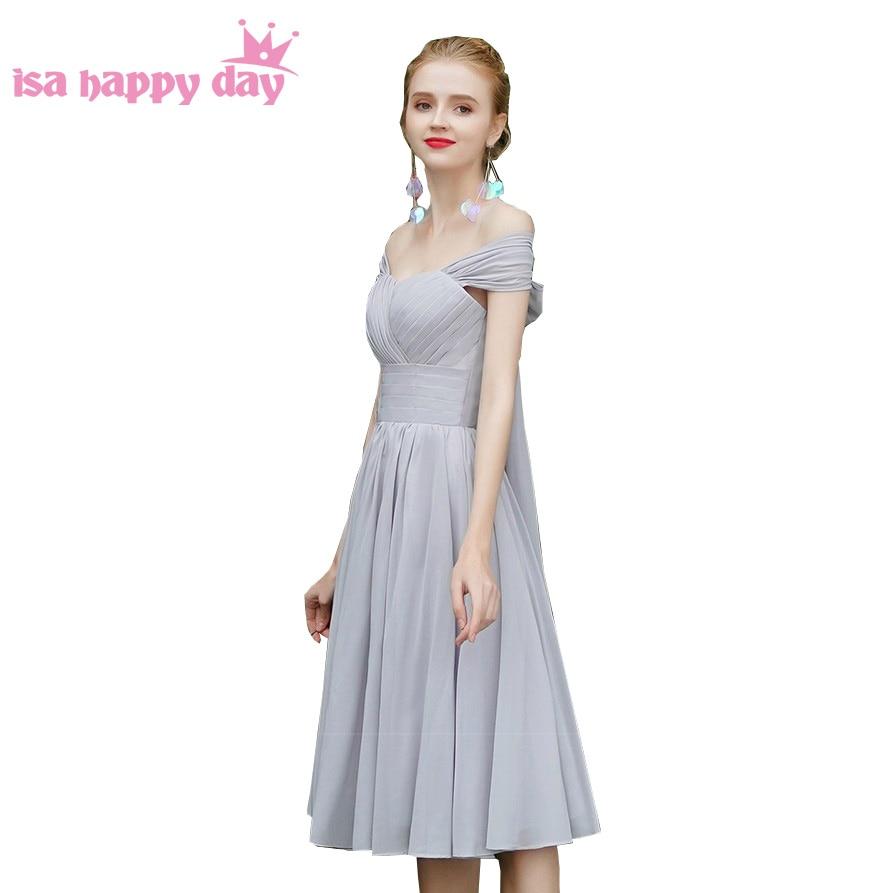 Sister Of The Bride Chiffon Sweetheart Grey Tea Length Bridesmaid Dresses Bridal Gray Bridesmaide Party Dress Under $50 H4326