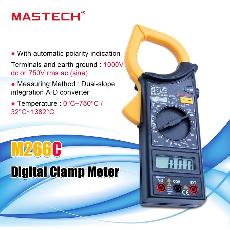 MASTECH M266C Digital Clamp Meter Voltmeter Ohmmeter ACVoltage AC Current Resistance Temp Tester Detector With Diode Multimeter
