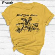 T-Shirt Western Retro Gifts Crewneck Horses-Print Funny Cute Vintage Ladies Rodeo Hold