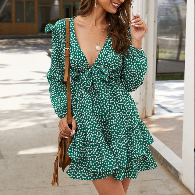 Floral Low-Cut Ruffles Slim Sweet Temperament dress women