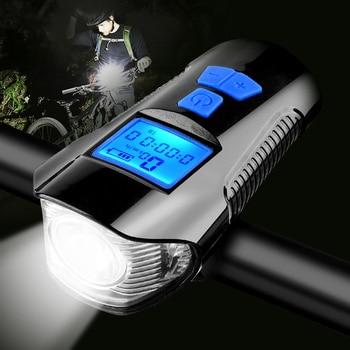 Waterdichte Fiets Licht Usb Opladen Fiets Front Light Zaklamp Stuur Fietsen Head Light W/Hoorn Snelheid Meter Lcd-scherm