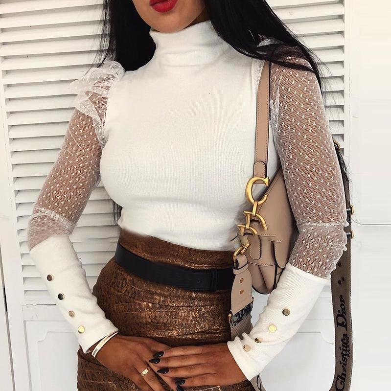 Womens Tops And Blouses Elegant Sheer Puff Long Sleeve OL Shirt Ladies Polka Dot Chemise Femme Office Lady Turtleneck Streetwear