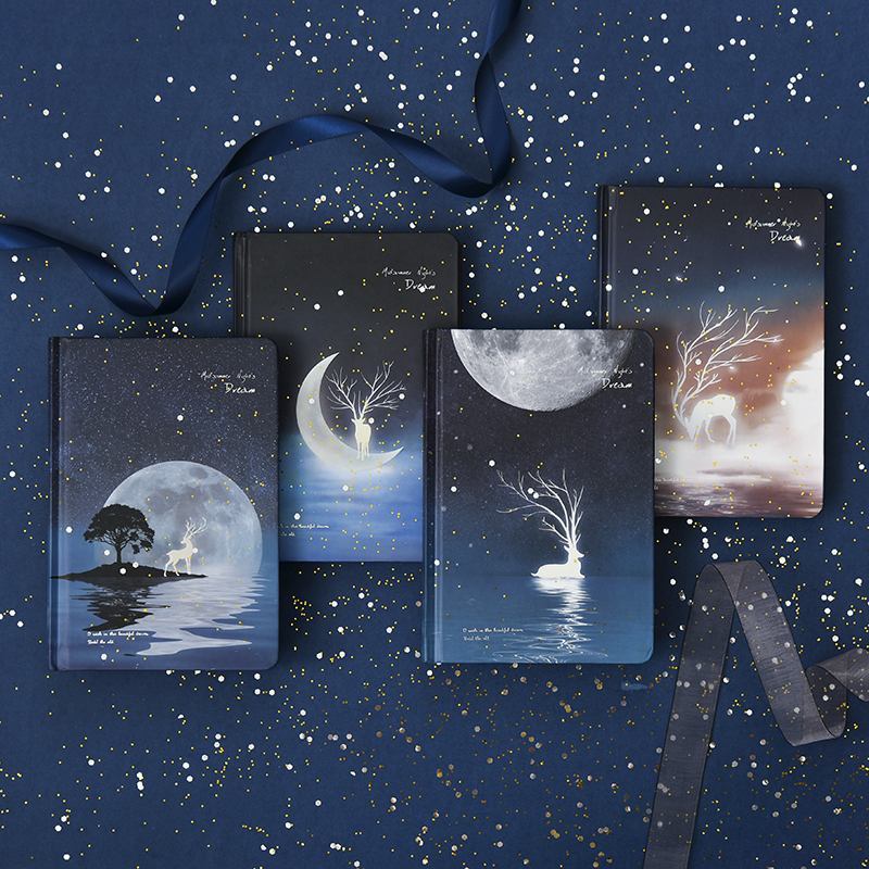 Moonlight Dream Notebook  A5 Luminous Hardcover Notebook Color Page Diary Notebook 1PCS