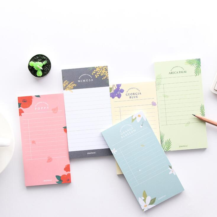 50 Sheets Pocket  Flower Flora Memo Pads Planner Daily To Do List Message Notes Paper Paperlaria School Office Stationery
