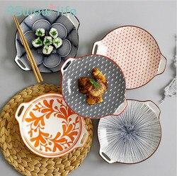 Kreatywna podwójna płyta ucha płyta ceramiczna glazura kolor proste gospodarstwa domowego 9 Cal naczynia naczynie do serwowania zastawa stołowa na przybory kuchenne w Naczynia i talerze od Dom i ogród na
