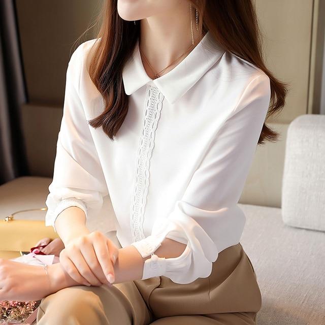 Korean Chiffon Shirts Women Long Sleeve Shirts Woman Solid Blouses Tops Office Lady White Shirt Tops Plus Size Woman Blouse Top 1