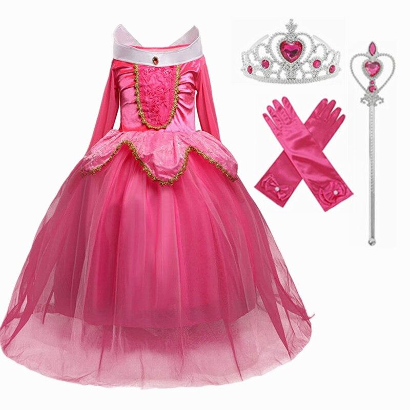 Golden Princess Dress Cosplay Girls Dress Crown Magic Stick Party Kids Dress For Girls Clothing Birthday Ball Gown 3