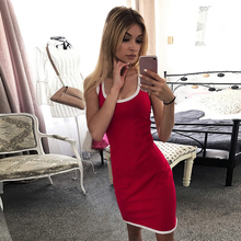Bodycon Dress Women Summer Sweatshirt Fashion Side Stripe Sleeveless Short Sport Dresses Casual Ladies Club Party Sexy D35