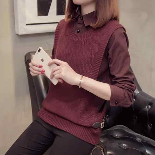 Primavera inverno nova moda feminina camisola camisa e colete de malha falso duas peças blusas preto cáqui cinza borgonha verde topos lm2
