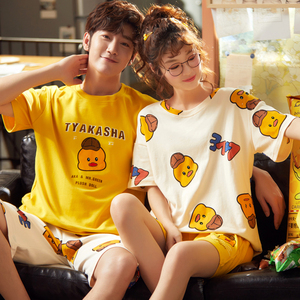Image 1 - Cute Printing Summer Pajamas Cotton Couple Pajamas Set  Women Loungewear Lover Pyjama Femme Mens Sleepwear Home Clothing