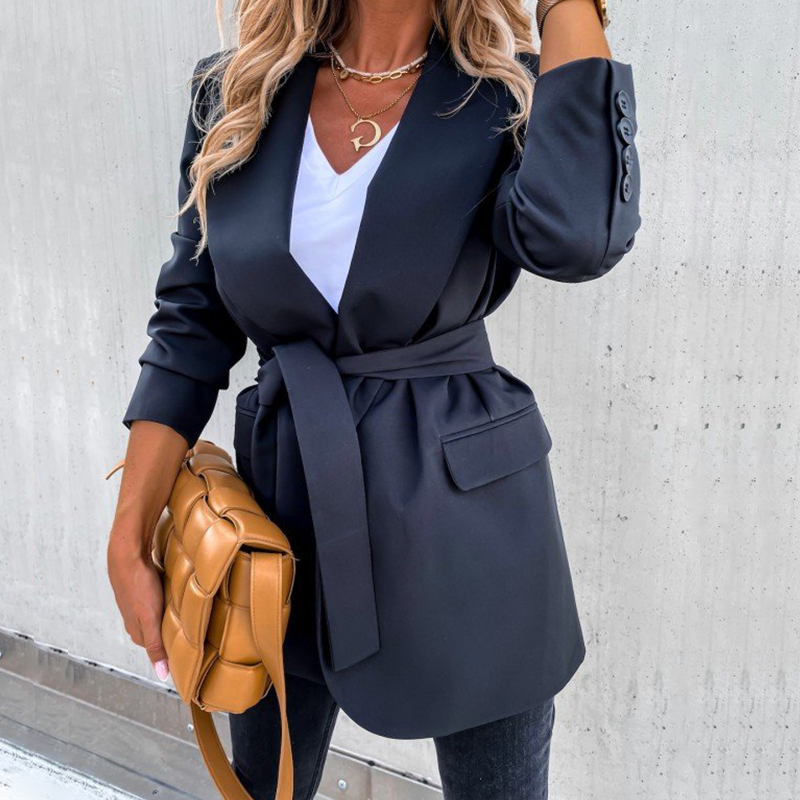 2020 Autumn Office Lady Long Blazer Suit Coat Women Elegant OL Black Blazer Sashes Jacket Winter New Fashion Blazers Fit Outwear