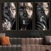 Африканский макияж женский холст фотография стены с черным женским