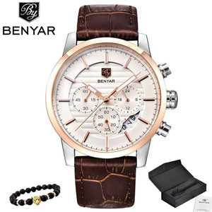 Image 1 - BENYAR Top Brand Luxury Stainless Steel Watch Men Business Casual Quartz Watch Military Wristwatch Waterproof Sport Relogio 2020