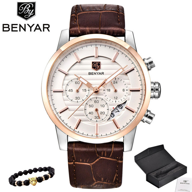 BENYAR Top Brand Luxury Stainless Steel Watch Men Business Casual Quartz Watch Military Wristwatch Waterproof Sport Relogio 2020