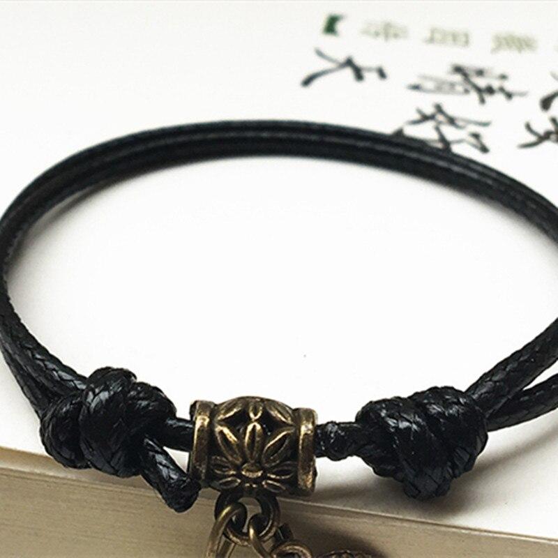 Simple Luminous Bead Leaf Pendant Bracelet Men Braided Rope Chain Couple The Birth Year Bracelet for Men Women Student Jewelry
