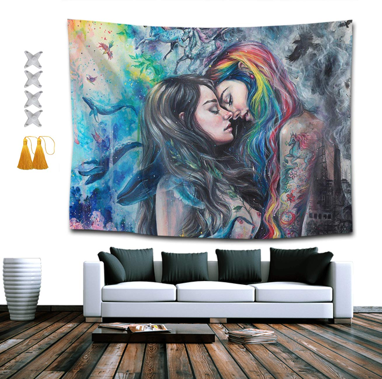 Gothic Girl Lace Love LGBT Lesbian Pride Tapestry Hippie Art Wall Hanging