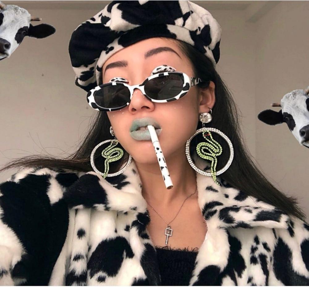 Classic Retro Sunglasses Women Brand Designer Fashion Oval Frame Sun Glasses Cow Color Trend Small Frame  Lentes De Sol Mujer