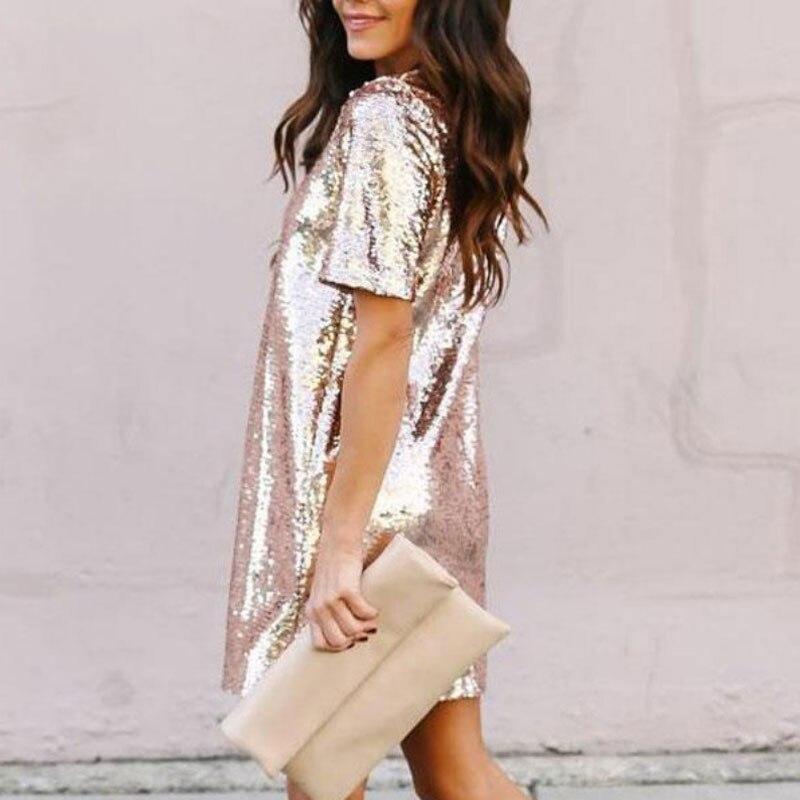Black Rose Gold Sequin Dress 2020 Summer New Year Glitter Dress Short Sleeves Elegant Casual Club Party Dresses Women Evening