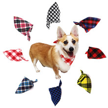 Dog Bandanas Large Pet Scarf Dog Bibs Scarf Washable Cozy Cotton Plaid Printing Puppy Kerchief Bow Tie Pet Grooming Accessories(China)