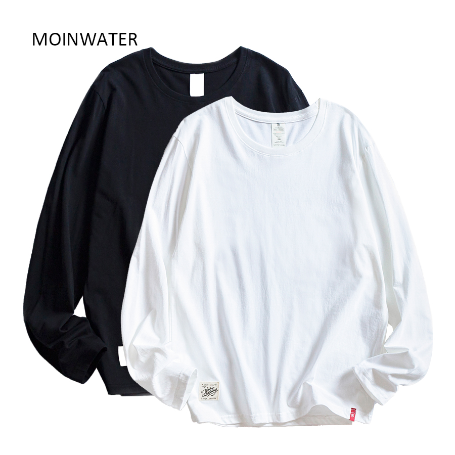 MOINWATER <font><b>Women</b></font> <font><b>T</b></font> <font><b>shirts</b></font> Wholesale 2 Pieces Solid 100% <font><b>Cotton</b></font> <font><b>Long</b></font> <font><b>Sleeve</b></font> <font><b>T</b></font>-<font><b>shirts</b></font> Lady Casual Tees&Tops image