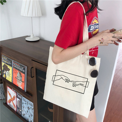 Summer new canvas art abstract Michelangelo printing casual fashion fun large capacity female Vintage Harajuku shoulder bags