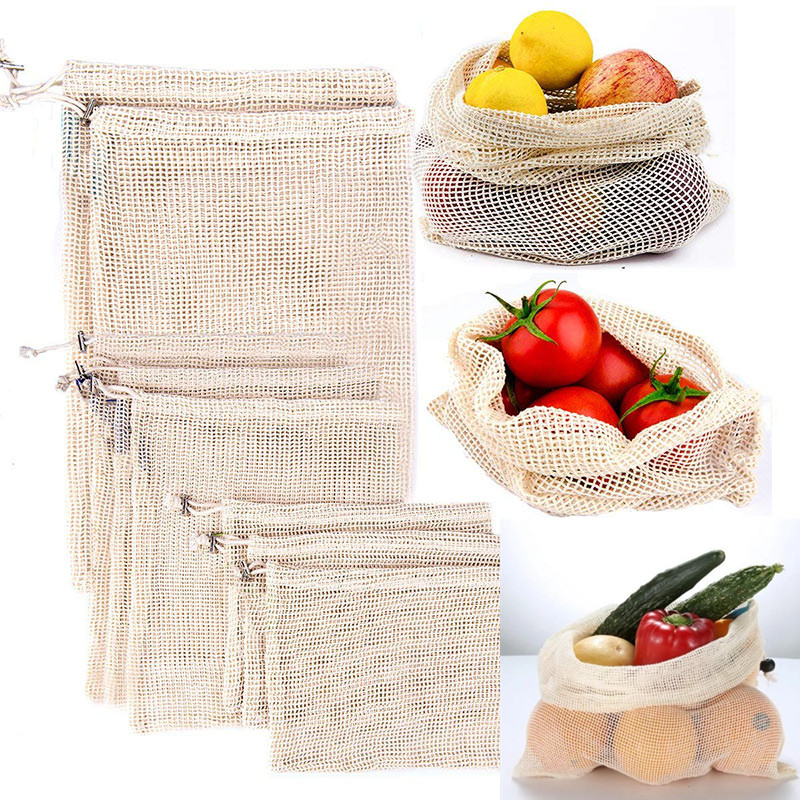 Reusable Cotton Vegetable Bags Home Kitchen Fruit And Vegetable Storage Mesh Bags Drawstring Bag Machine Washable