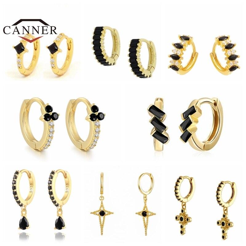 Cner prawdziwe 925 Sterling Silver mały czarny CZ cyrkon Hoop kolczyki dla kobiet okrągłe koło kolczyk do piercingu biżuteria pendientes