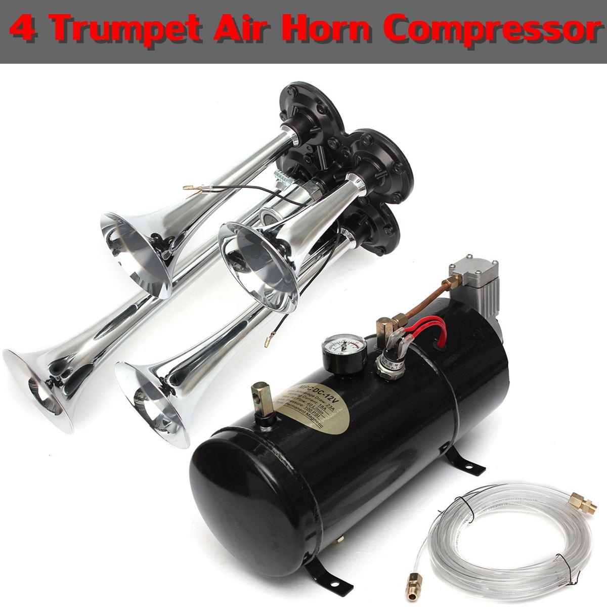 Universel 12V 150.2 db moto voiture camions bateaux 4 trompette Air klaxon compresseur tubes